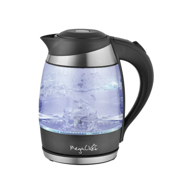1.9 Qt. Glass and Stainless Steel Electric Tea Kettle by Mega Chef