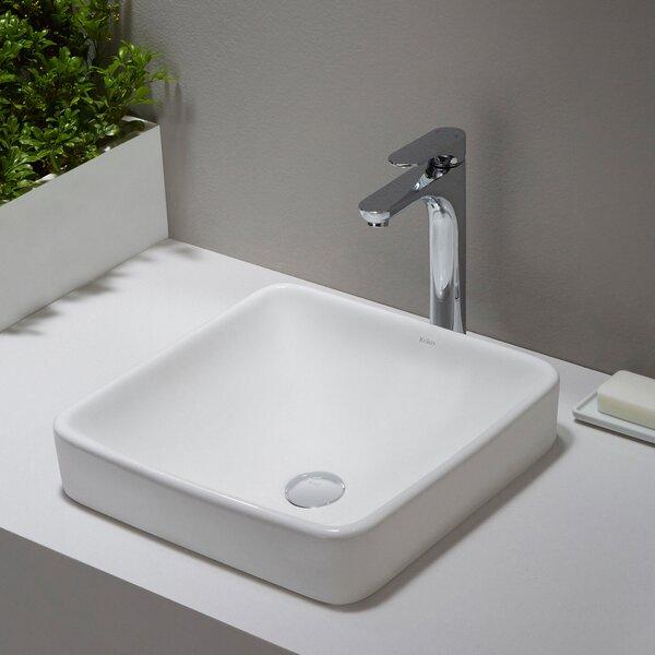 Elavo Ceramic Square Semi-Recessed Bathroom Sink with Overflow by Kraus