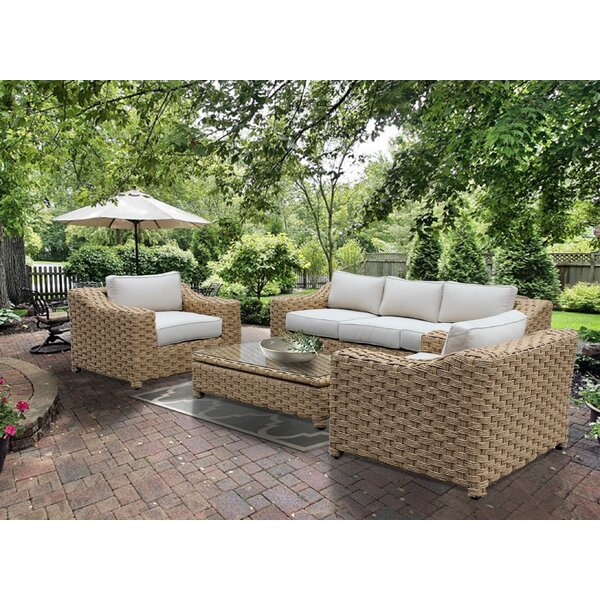 Dutil 4 Piece Rattan Sofa Seating Group with Cushions by Brayden Studio
