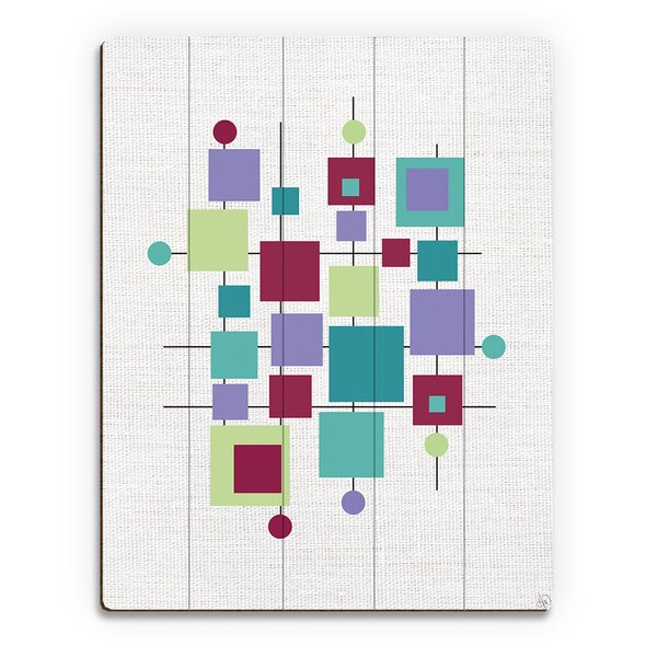 Modern Puzzle Turquoise Graphic Art on Wood by Click Wall Art