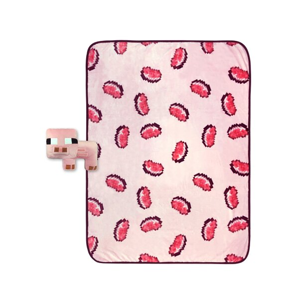 2 Piece Small Pig Shaped Pillow and Pork Chop Throw Set by Minecraft
