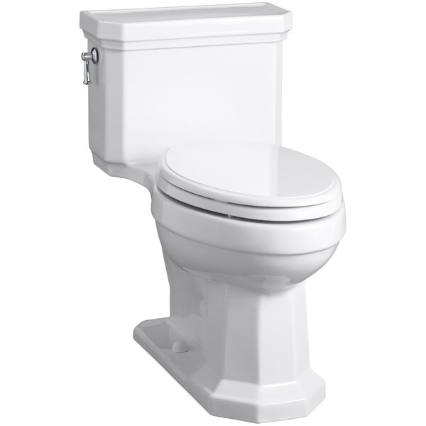 Kathryn Comfort Height Elongated One-Piece 1.28 GPF Toilet with Aquapiston Flush Technology, Left-Hand Trip Lever and Concealed Trapway by Kohler