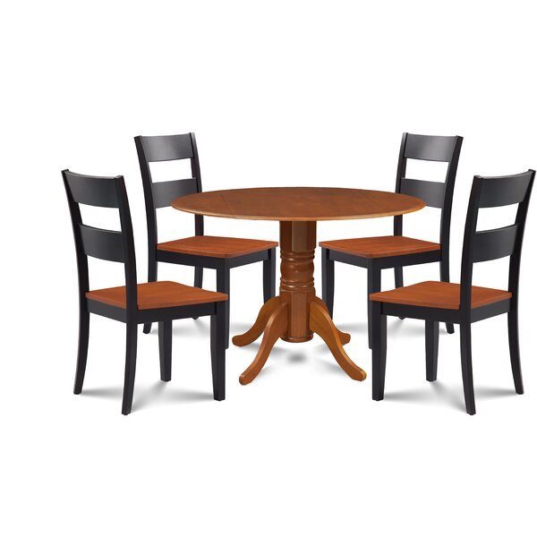 Kieran 5 Piece Drop Leaf Solid Wood Dining Set by Millwood Pines Millwood Pines