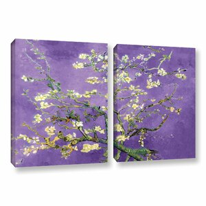 Almond Blossom-Interpretation In Iris Violet by Vincent Van Gogh 2 Piece Painting Print on Wrapped Canvas Set by ArtWall