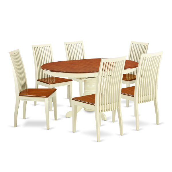 Aimee 7 Piece Solid Wood Dining Set by August Grove