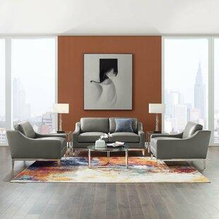 Delonge Leather Match Living Room Set by Orren Ellis