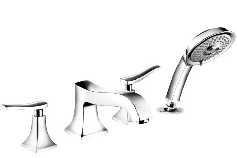 Metris C Two Handle Deck Mounted Roman Tub Faucet with Hand Shower by Hansgrohe