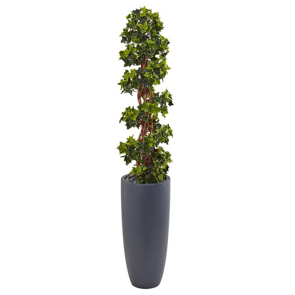 Artificial English Spiral UV Resistant Floor Ivy Topiary in Planter by Brayden Studio