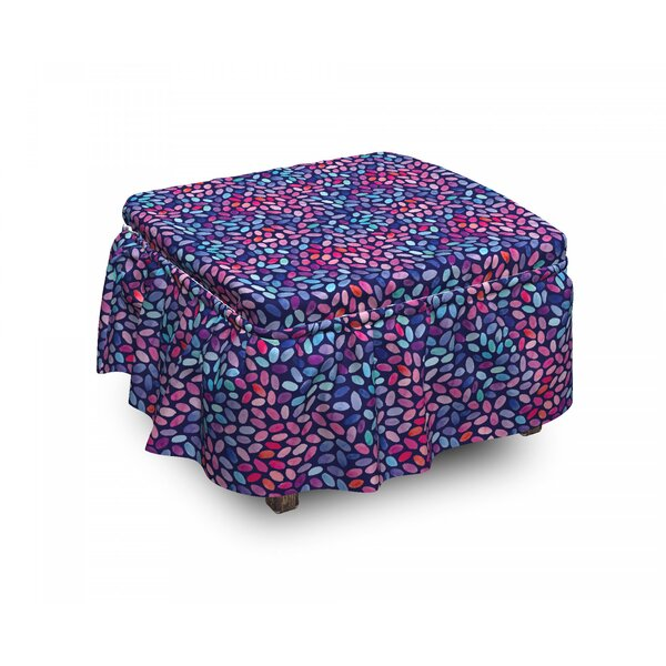 Grunge Oval Spots 2 Piece Box Cushion Ottoman Slipcover Set By East Urban Home
