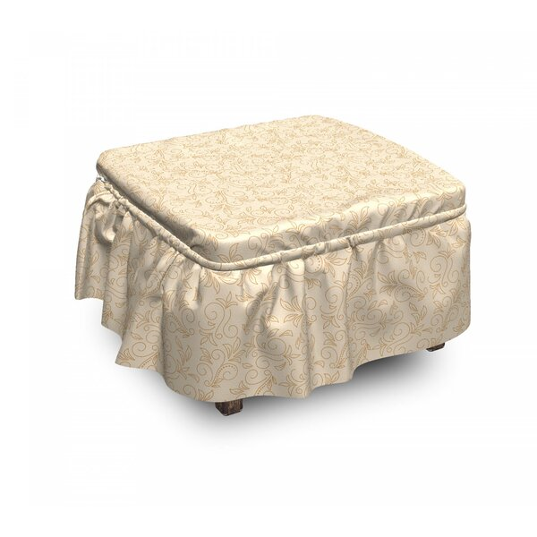 Abstract Floral 2 Piece Box Cushion Ottoman Slipcover Set By East Urban Home