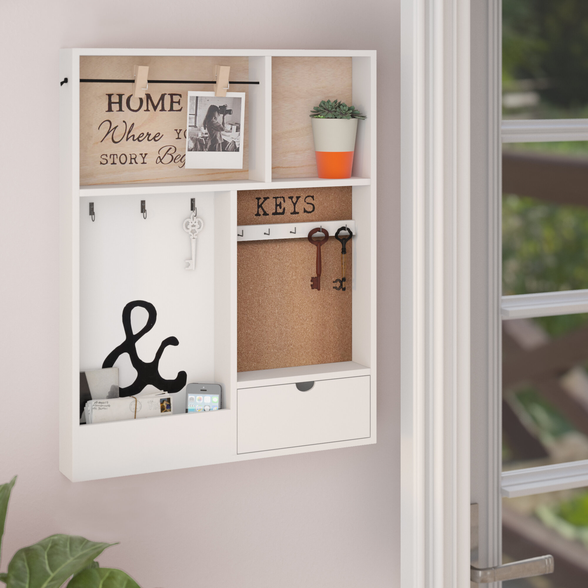 Gracie Oaks Murguia Wall Key Organizer With Key Hooks And Wall Baskets And Mail Storage Reviews Wayfair