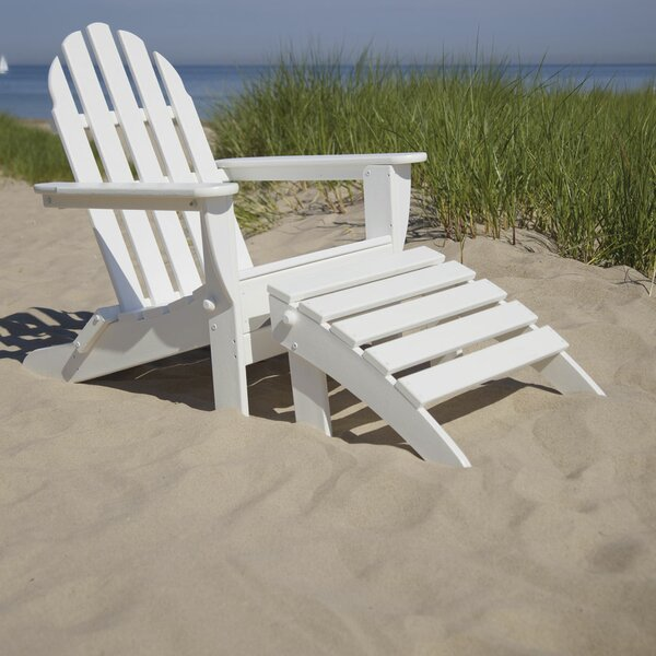 Classic Adirondack Plastic/Resin Folding Chair with Ottoman by POLYWOOD POLYWOOD®