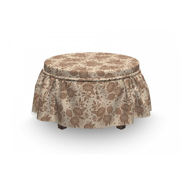 Oriental Blooming Peonies Ottoman Slipcover (Set Of 2) By East Urban Home