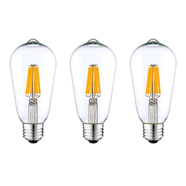 6W E26/Medium Dimmable LED Edison Light Bulb (Set of 3) by String Light Company