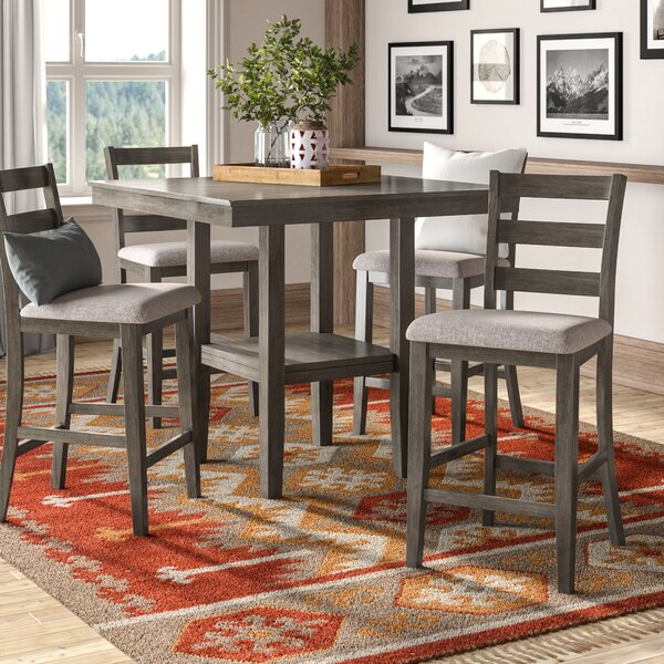 Sela 5 Piece Counter Height Solid Wood Dining Set by Millwood Pines Millwood Pines