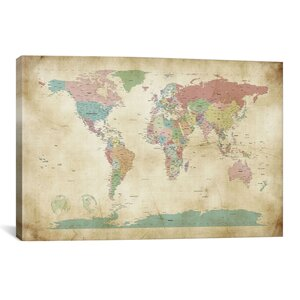 'World Cities Map' Graphic Art Print by East Urban Home