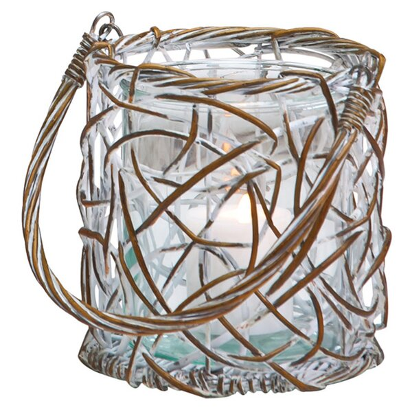 Willow Weaved Round Glass Lantern by Cape Craftsmen
