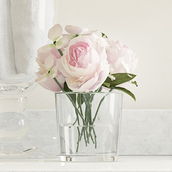 Hydrangea and Rose Arrangement in Glass Vase by Willa Arlo Interiors