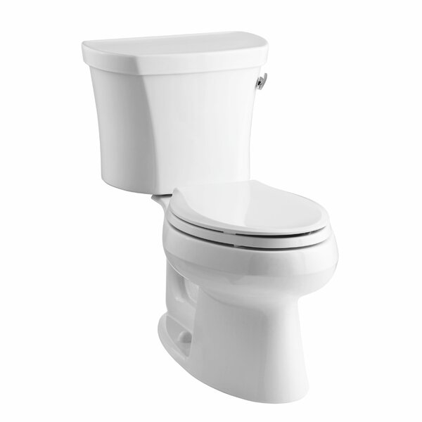 Wellworth Two-Piece Elongated 1.28 GPF Toilet with Class Five Flush Technology, Right-Hand Trip Lever, Insuliner Tank Liner and Tank Cover Locks by Kohler