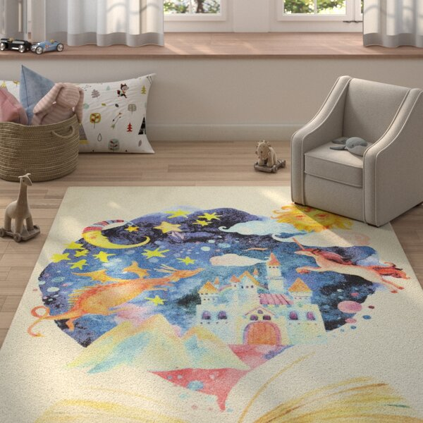 Engler Tell Me a Story Beige/Blue Area Rug by Zoomie Kids
