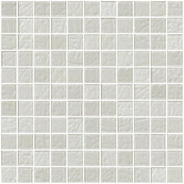 1 x 1 Glass Mosaic Tile in Metallic White Silver by Susan Jablon