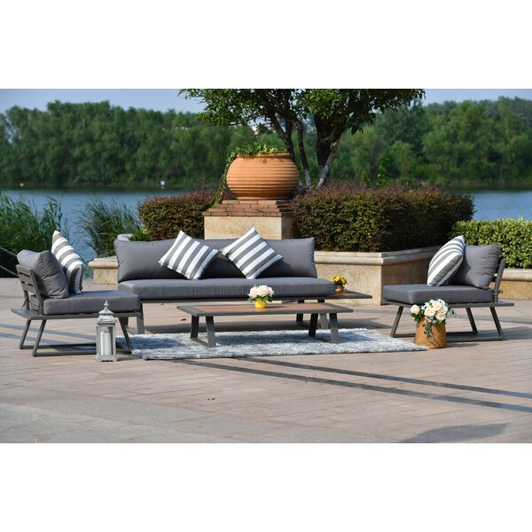 Seabrook 4 Piece Sectional Seating Group with Cushions by Brayden Studio