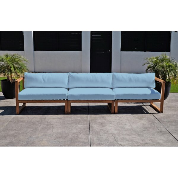 Wawona Deluxe Teak Patio Sofa with Sunbrella Cushions by Foundry Select