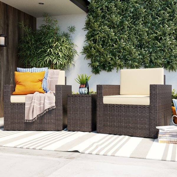 Belton 3 Piece Rattan Seating Group with Cushions Mercury Row MCRW4628