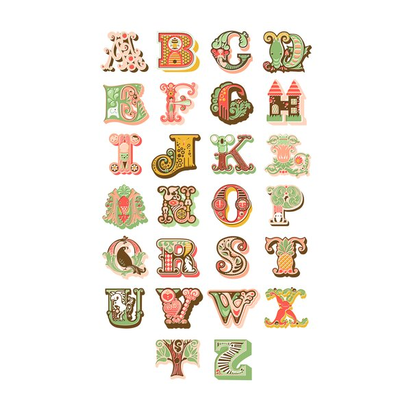 Alphabet Paper Print by Evive Designs