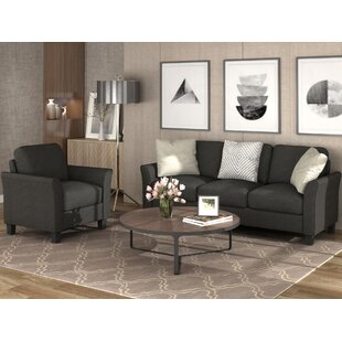 2 Pcs Linen Fabric Couch Sets Armchair+3-Seater Sofa For Home&Office(Black) by Red Barrel Studio®