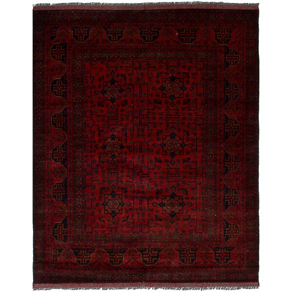 One-of-a-Kind Abraham Hand-Knotted Wool Red/Black Area Rug by Isabelline