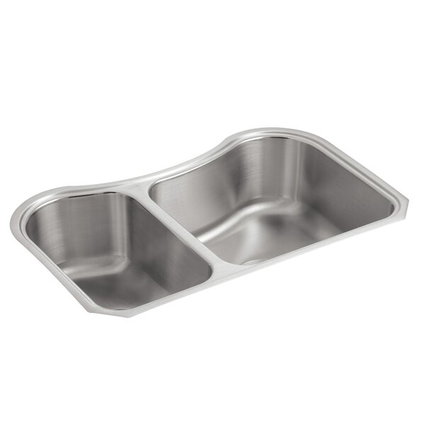 Staccato 31-5/8 L x 19-9/16 W x 8 Under-Mount Extra-Large/Medium Double-Bowl Kitchen Sink by Kohler