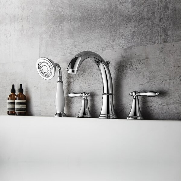 Julius Double Handle Deck Mounted Roman Tub Faucet Trim With Diverter And Handshower By Vinnova