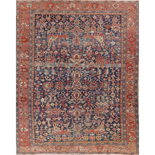 One-of-a-Kind Gutzwiller Hand-Knotted Before 1900 Serapi Red/Blue 8'11 x 11'6 Wool Area Rug