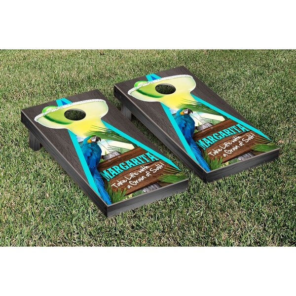 Margarita Beach Themed Onyx Stained Triangle Version 1 Cornhole Game Set by Victory Tailgate