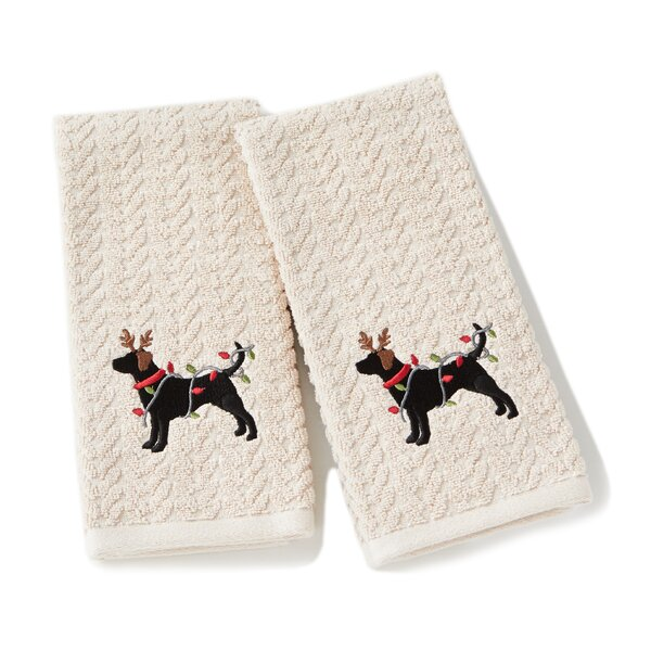 Bright Reindeer Dog Cotton Hand Towel (Set of 2) by The Holiday Aisle