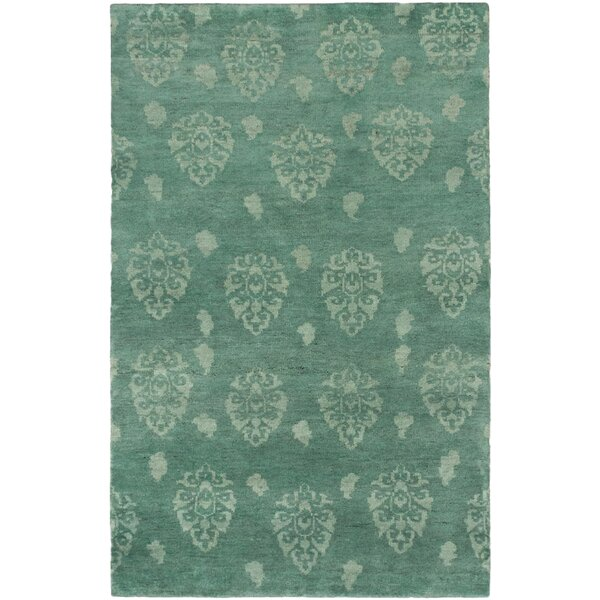 Cowart Hand-Knotted Teal Area Rug by World Menagerie