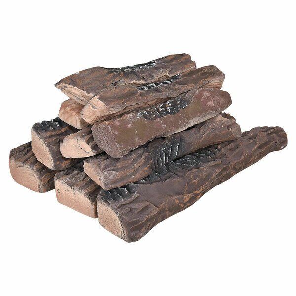 Fireplace 10 Piece Ceramic Decorative Log Set By Boyel Living