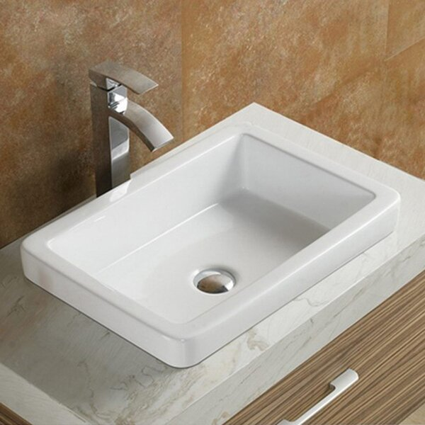 Ceramic Rectangular Drop-In Bathroom Sink by Vanit
