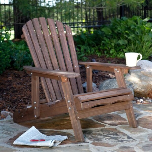 Yaritza Reclining Wood Folding Adirondack Chair with Ottoman by Highland Dunes Highland Dunes