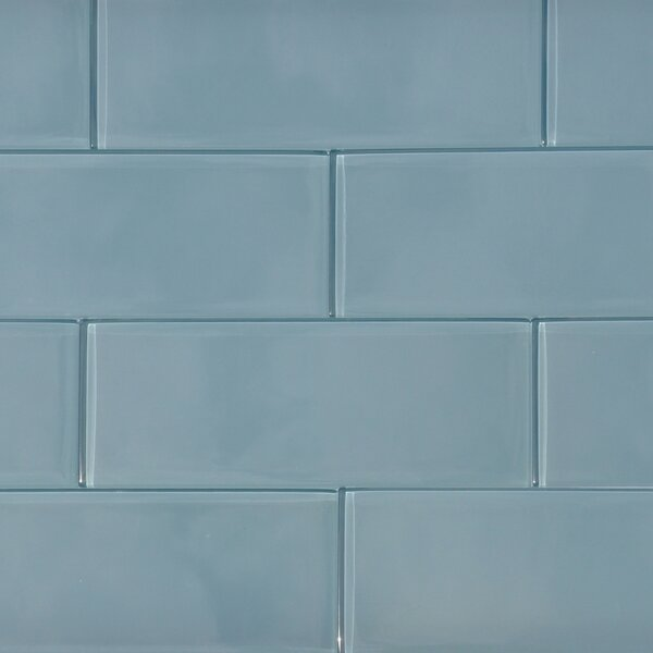 8 x 3 Shiny Shadow Tile in Blue by The Bella Collection