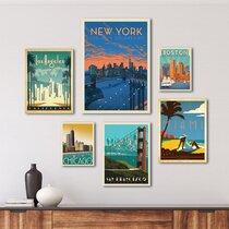 Boston Watercolor Poster Print for Living Room Wall Art Boston Home /& Office Wall Decor Skyline Photography Boston Bedroom Wall Art Decor