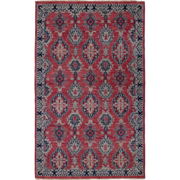 One-of-a-Kind Rebello Hand-Knotted Wool Light Red/Gray Area Rug by Bloomsbury Market