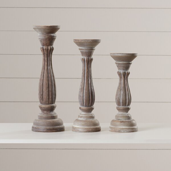3 Piece Pillar Candlestick Set by Lark Manor