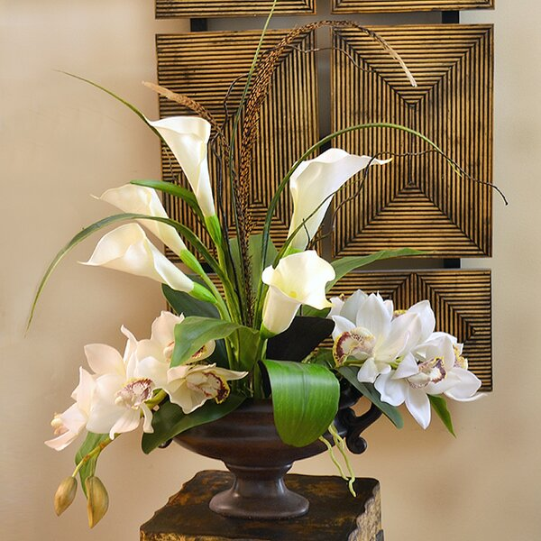 Calla Lily and Orchid Silk Flower Arrangement by Floral Home Decor