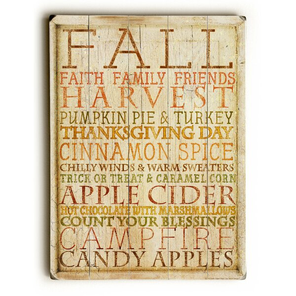 Fall Harvest Apple Cider Wooden Graphic Art Plaque by The Holiday Aisle