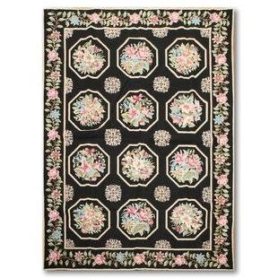 Compare prices One-of-a-Kind Reardon Needlepoint Hand-Knotted Wool Black Area Rug ByAstoria Grand