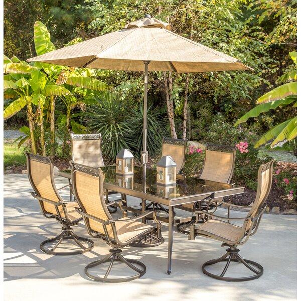 Campuzano 7 Piece Dining Set with Umbrella by Fleur De Lis Living