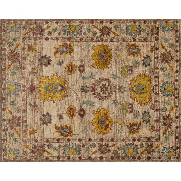 Keister Hand-Knotted Beige/Yellow Area Rug by Alcott Hill