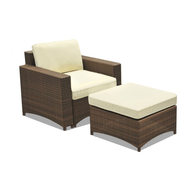 Nelligan Modular Patio Chair with Cushions and Ottoman by Wrought Studio